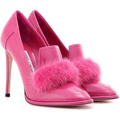 Jimmy Choo Lyza 110 Fur-Trimmed Patent Leather Pumps ($845) ❤ liked on Polyvore featuring shoes, pumps, pink, pink patent shoes, jimmy choo, jimmy choo shoes, pink shoes and patent leather shoes