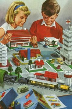 Toy town - Peter and Jane, Games we Like. Vintage Illustration Art, Children's Book Illustration, Vintage Children's Books, Vintage Cards, Ladybird Books, Retro Toys, Fun Prints, Vintage Advertisements, Illustrations Posters