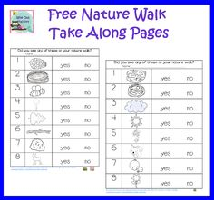 free nature talk along pages for noticing and walking outside