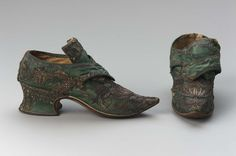 Shoes, 1730's, Made of silk satin, linen, and leather