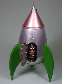 ROCKET+SHIP++Found+Object++Robot+Sculpture+by+NutzenBoltsWorks,+$255.00