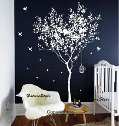Tree Wall Decal vinyl StickerNature Design birdcage by NatureStyle