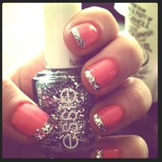 nails, coral, glitter, sparkles, manicure