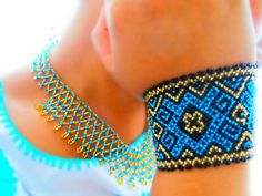 Huichol Bracelet (foreground) - love these colours & the design - great inspiration.