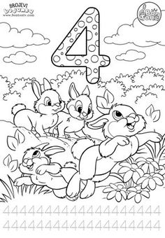 Number 4 - Preschool printables - worksheets coloring pages for kids (Learning numbers, counting - Broj 4 - Bojanke za djecu - brojevi, radni listovi BonTon TV Nativity Coloring Pages, Abc Coloring Pages, Disney Coloring Pages, Coloring Books, Numbers Preschool, Learning Numbers, Toddler Learning Activities, Kids Learning, Classroom Wall Decor