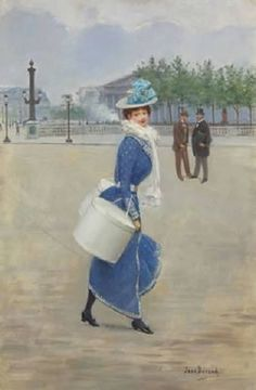 Sur la place de la Concorde, oil on panel. Victorian Paintings, Victorian Art, Victorian Ladies, Gravure Illustration, Cute Illustration, F Pictures, Photos, Concorde, Auguste Herbin