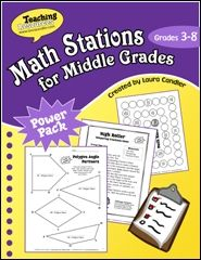 ($) Math Stations for Middle Grades (Grades 3 through 8) eBook from Laura Candler - strategies and printables for implementing math stations and math centers