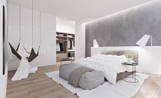 'Minimal Interior Design Inspiration' is a biweekly showcase of some of the most perfectly minimal interior design examples that we've found around the web - White Bedroom Design, White Bedroom Decor, Bedroom Furniture Design, White Furniture, Home Bedroom, White Bedrooms, Gray Bedroom, Bedroom Designs, Bedroom Simple
