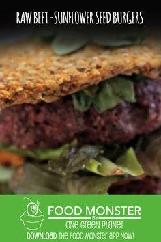 Raw-Beet Sunflower Seed Burgers! Raw Vegan Recipes, Dairy Free Recipes, Vegan Vegetarian, Raw Beets, Cheese Lover, Burger Recipes, Burgers, Free Food, Bacon