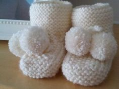 Knitted these first baby booties in a neutral colour just so everything is not always pink or blue!