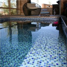Indoor spa with glass tile #alltilespa @Paragon Pools