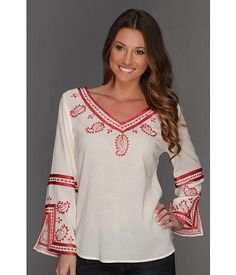 Lucky Brand Topanga Days Embroidered Top Women's Blouse - Natural Multi Peasant Tops, Tunic Tops, Casual Outfits, Casual Clothes, Blouses For Women, Lucky Brand, Style Me, Womens Fashion, Natural