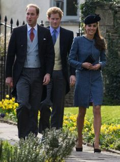Prince William, Duke of Cambridge, Catherine, Duchess of Cambridge and Prince Harry attend the wedding of close friends, Lucy Meade and Charlie Budgett at St Mary's Church, Marshfield, Gloucestershire, 29.03.14