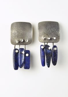 Holly Masterson Earrings With 3 Lapis Beads
