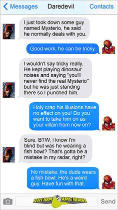 """textsfromsuperheroes: """" The Best of Daredevil (and Punisher) on Texts From Superheroes Keep reading """" Funny Marvel Memes, Marvel Jokes, Dc Memes, Marvel Dc Comics, Marvel Heroes, Marvel Avengers, Marvel Defenders, Superhero Texts, Avengers Texts"""