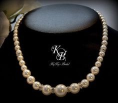 Bridal Necklace, Pearl and Crystal Necklace, Wedding Jewelry, Prom Jewelry, Wedding Necklace, Pearl Necklace, Wedding, Bride, Bridesmaid | KyKy's Bridal, Handmade Bridal Jewelry, Wedding Jewelry