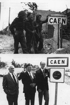 De gauche à droite, !es fusiliers Bernard Hoo, John Mc Couville, JR Kostick, du Royal Winnipeg Rifles (3rd Canadian Infantry Division) à l'entrée de Caen, le 11 juillet 1944. Quarante-quatre ans après, Bernard Hoo. John Mc Couville et JR Kostick se retrouvent au même endroit, à l'entrée de Caen par la route de Bayeux à La Maladrerie.