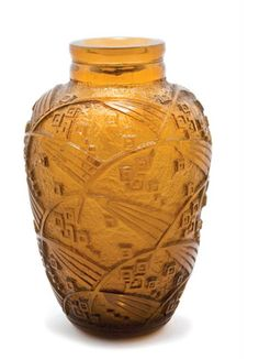 DAUM Vase, circa 1925 Deeply acid etched amber glass Signed DAUM NANCY FRANCE with croix de Lorraine.