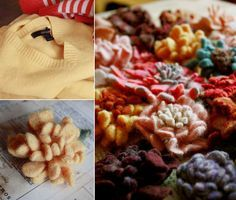 Felting Tutorial - Sweaters And Making Flowers From The Result