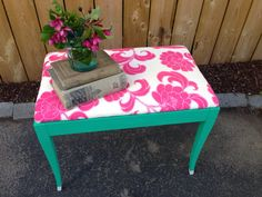 Pretty little emerald and fuchsia upholstered bench upcycled furniture on Etsy, $75.00