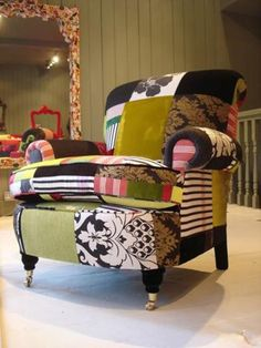 patchwork furniture by Squint - can you imagine how great a tie-dye patchwork would look?