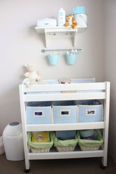 Nursery room is place with many baby stuffs. You need more storage to keep this room clean and neat. A changing table is must for baby stuffs storage. Complete it well with wire boxes, fabric boxes, or shelves will be great. Check out these ideas below; Baby Bedroom, Baby Boy Rooms, Baby Room Decor, Baby Boy Nurseries, Nursery Room, Room Baby, Child's Room, Modern Nurseries, Nursery Ideas