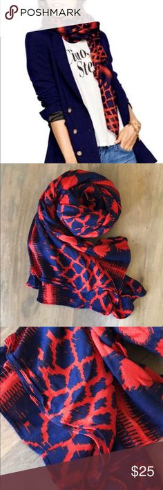 Stella & Dot Red and Navy Union Scarf Large beautiful scarf in excellent condition, never worn. Red and navy pattern, can be a scarf, a wrap, etc. Comes with matching bag for travel/storage. Stella & Dot Accessories Scarves & Wraps