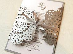 Silver Gray Lace Wedding Invitation Laser Cut Wedding Invitation Custom Colors Available