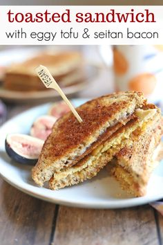 This toasted sandwich is a who's who of vegan breakfast favorites. You've got smoky seitan bacon, eggy tofu, and melty non-dairy cheese between two slices of crispy bread, browned in a skillet. It's a filling meal-on-the-go. Or put up your feet and savor every last bite. Ready in about 15 minutes.     #veganbreakfast #veganbrunch #toastedsandwich #eggytofu Savory Breakfast, Vegan Breakfast Recipes, Delicious Vegan Recipes, Brunch Recipes, Best Vegan Cheese, Toast Sandwich, Vegan Dishes