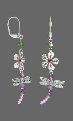 Jewelry Design - Earrings with Silver-Plated Brass Drops, Antiqued Pewter Beads and Swarovski Crystal - Fire Mountain Gems and Beads