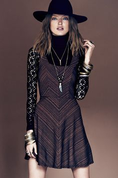 Free People Sacred Geometry (10)---my version: grey glitter skater dress over black lace top