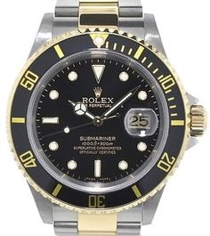 Rolex 16613 Two Tone Submariner Black Dial and Bezel 18kt Yellow Gold. Get the lowest price on Rolex 16613 Two Tone Submariner Black Dial and Bezel 18kt Yellow Gold and other fabulous designer clothing and accessories! Shop Tradesy now