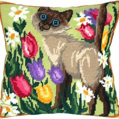 Siamese Cat Is Walking pillowcase cross stitch DIY embroidery kit Diy Embroidery Kit, Cat Cross Stitches, Cross Stitch Pillow, Cross Stitch Animals, Needlepoint Kits, Cat Crafts, Siamese Cats, Embroidery Techniques, Fun Projects