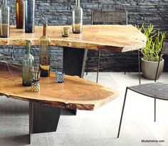 "Roost Live Edge Table Tops is made from sliced salvaged wood, which is then kiln-dried to create these exquisite table tops. The term ""line edge"" refers to the edges of the large slices that retain the natural shape of the tree and a layer of the bark. Live Edge Tisch, Live Edge Table, Live Edge Wood, Live Edge Furniture, Bamboo Furniture, Wood Bed Design, Furniture Design, Custom Furniture, Natural Wood Table"
