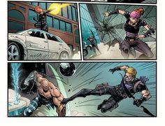 Black Widow & Hawkeye battle Absorbing Man