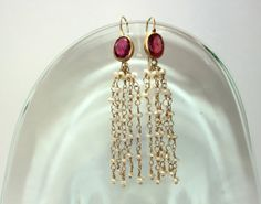 Gold Pearls Earrings With Pink Turmaline by by VeredLaorJewelry, $1500.00