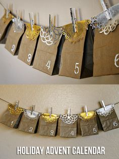 (diy tutorial) holiday paper bag advent calendar & gilded clothespins - See Vanessa Craft
