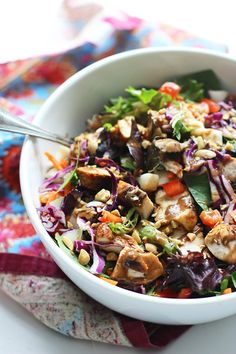 Chopped Spicy Chicken and Veggie Salad with Peanut Dressing ~ SO delicious and a cinch to make!