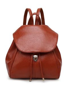 2017 New Women Casual Preppy Style Pebbled Faux Leather Flap Drawstring Backpack