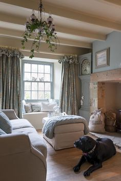 Love the colours in this country living room. Love the cute labrador too. Wish I had one!  If you like this pin, why not head on over to get similar inspiration and join our FREE home design resource library at www.FlorenceAndFreya.com?