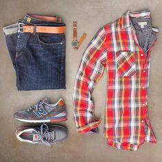 Stylish Grid by @matthewgraber   Follow  @stylishgridgame    Brands ⤵ Shirt: @denimandsupplyrl × @ralphlauren T-Shirt: @jcrew Jeans: @jcrewmens Shoes: @newbalance Watch: @timex Belt: @tannergoods