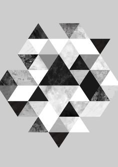 Graphic 202 Black and White Art Print, geometric triangle pattern, triangles…