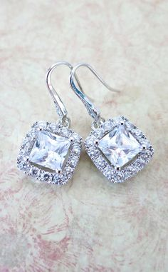 Gilda Luxe Cubic Zirconia Square Cushion Drop. Wear these with a cushion shaped diamond ring?