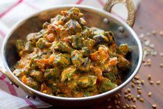 Dahi Achari Bhindi Recipe by Archana's Kitchen Sabzi Recipe, Roti Recipe, North Indian Recipes, Indian Food Recipes, Ethnic Recipes, Spicy Recipes, Curry Recipes, Kitchen Recipes, Cooking Recipes