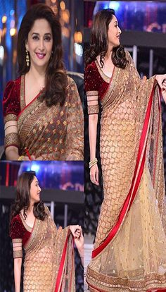 $122.41 Madhuri Jalak Dikhlaja Golden and Maroon Bollywood Saree 26683