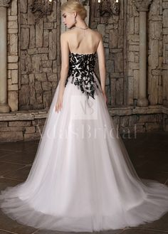 [172.50] Gorgeous Tulle Strapless Neckline A-line Wedding Dresses with Sequins Lace Appliques - dressilyme.com