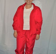 90s Red Windbreaker Suit Set, 2 Piece Wind Breaker Jumpsuit 1990s