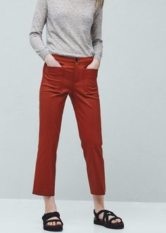 Pantaloni cotone tasche Mango