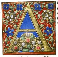 A for alphabets ( letter by Douce Pliny - Florentine Venice Medieval Books, Medieval Manuscript, Medieval Art, Illuminated Letters, Illuminated Manuscript, Medieval Paintings, Beautiful Calligraphy, Book Of Hours, Calligraphy Alphabet