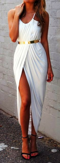 White maxi dress with golden belt - Greek goddess like, good toga party dress